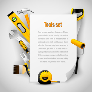 Realistic carpenter tools background frame with hammer saw pliers wrench screwdriver and measuring tのイラスト素材 [FYI03091710]