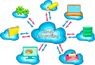 Cloud network technology service with connected devices and computers concept icon vector illustratiのイラスト素材 [FYI03091711]