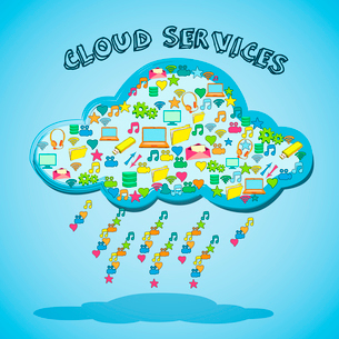 Cloud network technology service with social media and business apps emblem icon vector illustrationのイラスト素材 [FYI03091718]