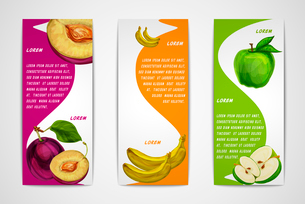 Mixed natural organic sweet fruits vertical banners collection of apple plum and banana for cafe desのイラスト素材 [FYI03091719]