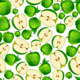 Seamless apple fruit sliced in half with seed and leaves pattern hand drawn sketch vector illustratiのイラスト素材 [FYI03091722]