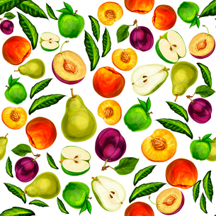 Seamless mixed ripe juicy sliced fruits pattern background with apple plum peach and pear hand drawnのイラスト素材 [FYI03091723]