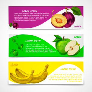 Mixed natural organic sweet fruits banners collection of apple plum and banana for cafe dessert menuのイラスト素材 [FYI03091726]