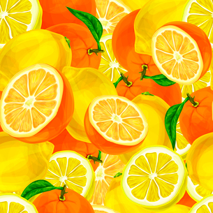 Seamless sliced juicy cut whole lemons and oranges with leaves pattern background vector illustratioのイラスト素材 [FYI03091728]