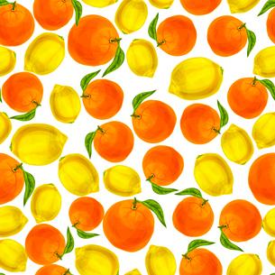 Seamless natural organic juicy orange and yellow lemon pattern vector illustrationのイラスト素材 [FYI03091729]