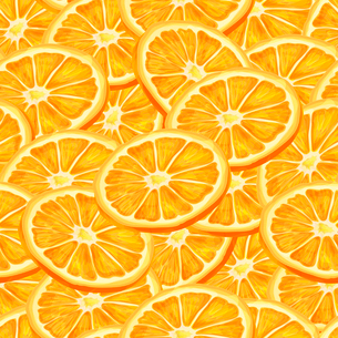 Seamless riped juicy sliced oranges pattern background vector illustrationのイラスト素材 [FYI03091736]