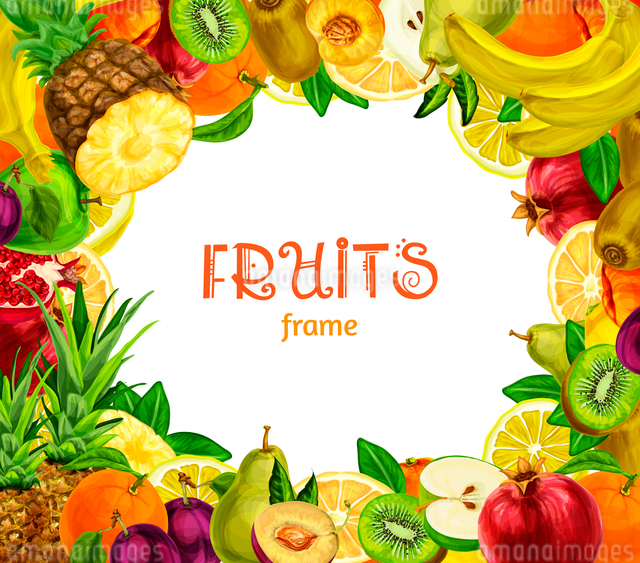 Natural exotic fruits collection frame with pineapple kiwi banana pomegranate pear orange vector illのイラスト素材 [FYI03091737]
