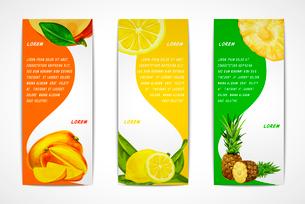 Natural organic tropical fruits vertical banners set of mango lemon pineapple design template vectorのイラスト素材 [FYI03091738]