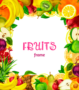 Natural exotic fruits collection frame with apple plum lemon peach kiwi vector illustrationのイラスト素材 [FYI03091740]