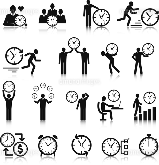 Business man with clock time management icons set vector illustrationのイラスト素材 [FYI03091741]