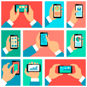 Collection of hands using mobile phone with business apps and social media content isolated vector iのイラスト素材 [FYI03091744]
