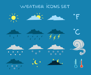 Weather forecast icons set of clouds clear sky and lightning vector illustrationのイラスト素材 [FYI03091754]
