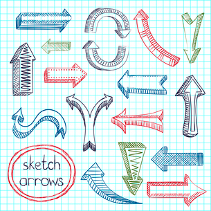 Colored navigation arrows on squared notebook background sketch pencil drawing icons set flat isolatのイラスト素材 [FYI03091757]