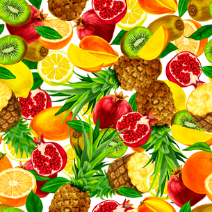 Seamless organic sliced tropical fruits background with lemon mango orange pineapple pomegranate vecのイラスト素材 [FYI03091758]