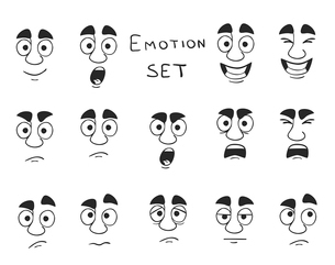 Facial avatar emotions icons set expressing smile sadness fun happiness isolated vector illustrationのイラスト素材 [FYI03091760]