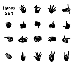 Hands gestures flat pictograms set of ok disapproval stop sign signals isolated vector illustrationのイラスト素材 [FYI03091763]