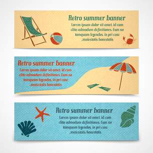 A set of horizontal summer vacation banners with a chaise lounge on the beach a coastline and waterのイラスト素材 [FYI03091768]