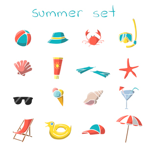 Summer vacation travel icons set of snorkel mask crab panama and parasol isolated vector illustratioのイラスト素材 [FYI03091770]