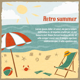 Summer vacation background or travel agency poster with sand beach parasol and chaise lounge retro vのイラスト素材 [FYI03091771]