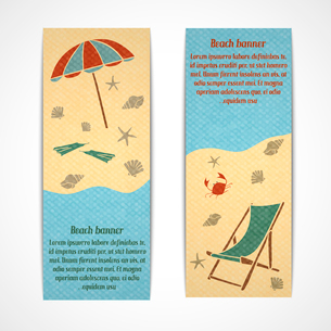 A set of retro vertical summer vacation travel banners with a coastline parasol sun lounger fins craのイラスト素材 [FYI03091776]