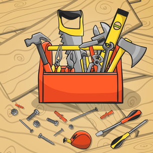 Carpenter toolbox with screwdriver hammer handsaw wrench and scattered instruments on a wooden backgのイラスト素材 [FYI03091779]