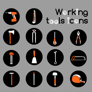 Construction working tools icons or stickers set of wrench hammer screwdriver and sawのイラスト素材 [FYI03091784]