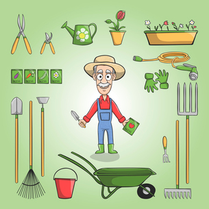 Happy gardener cartoon character in hat with plants seeds and tools set vector illustrationのイラスト素材 [FYI03091787]