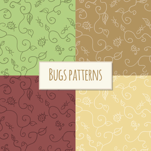 Seamless pattern bugs and leaves wallpaper backgrounds set vector illustrationのイラスト素材 [FYI03091788]