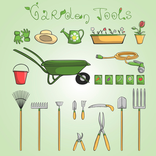 Collection of garden tools and accessories for cultivating vegetables and flowers cartoon vector illのイラスト素材 [FYI03091789]