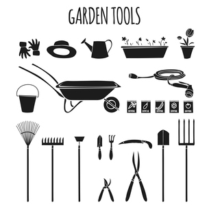Collection of garden related items tools and accessories for cultivating plants graphic pictograms iのイラスト素材 [FYI03091791]