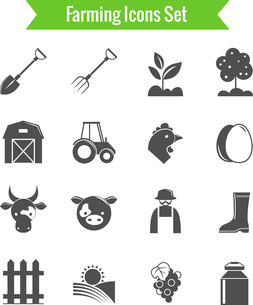 Farming harvesting and agriculture icons set on white background isolated vector illustrationのイラスト素材 [FYI03091792]
