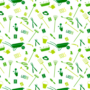 Decorative garden tools seamless wallpaper green on white converted pattern vector illustrationのイラスト素材 [FYI03091793]