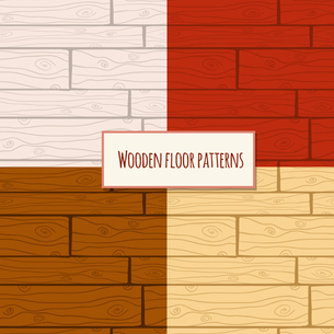 Seamless wooden parquet laminate floor planks backgrounds patterns set vector illustrationのイラスト素材 [FYI03091794]