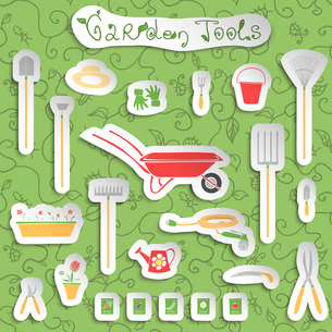 Decorative stickers collection of garden outdoors tools and accessories set with seeds and flowers vのイラスト素材 [FYI03091795]