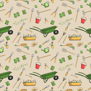 Decorative garden tools seamless wallpaper or background retro print pattern vector illustrationのイラスト素材 [FYI03091797]