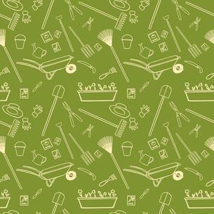 Decorative garden tools seamless wallpaper white on green pattern vector illustrationのイラスト素材 [FYI03091799]