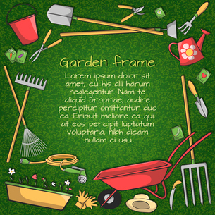 Decorative frame of garden accessories instruments and tools on green background vector illustrationのイラスト素材 [FYI03091800]