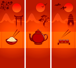 Japanese culture banners or bookmarks template collection with rice teapot and sushi vector illustraのイラスト素材 [FYI03091801]
