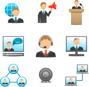 Business people meeting online and offline conference speech and presentation icons set isolated vecのイラスト素材 [FYI03091802]