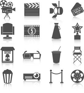 Cinema entertainment icons set of film popcorn movie tickets theatre chairs and projector lamp vectoのイラスト素材 [FYI03091804]