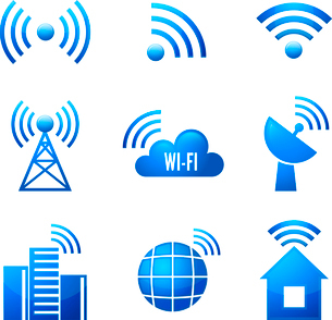 Electronic device wireless internet connection WiFi symbols glossy icons or stickers set isolated veのイラスト素材 [FYI03091812]