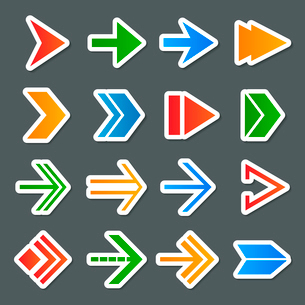Arrows symbols colorful icons stickers collection internet set isolated vector illustrationのイラスト素材 [FYI03091815]