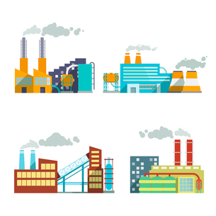 Industrial building factory and power plants icon set isolated vector illustrationのイラスト素材 [FYI03091820]