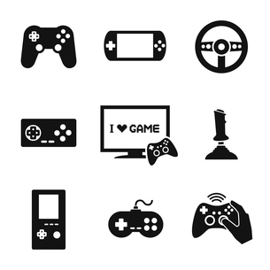 Video computer console games controller icons set of joystick keypad steering wheel isolated vectorのイラスト素材 [FYI03091821]