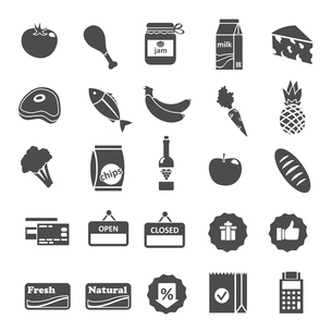 Supermarket food grocery items and symbols icons or stickers set isolated vector illustrationのイラスト素材 [FYI03091822]