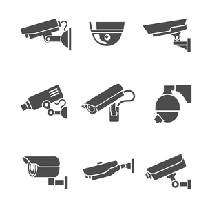 Video surveillance security cameras graphic pictograms set isolated vector illustrationのイラスト素材 [FYI03091823]