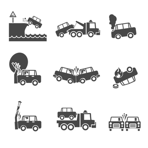 Black and white car accidents icons with tow truck street light  and tree crash isolated vector illuのイラスト素材 [FYI03091824]