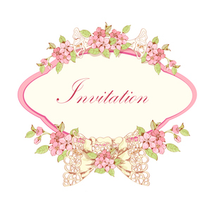 Cherry invitation card design with pink frame and lace bow vector illustrationのイラスト素材 [FYI03091828]