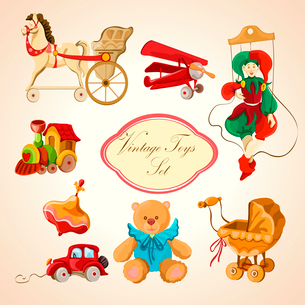Decorative children toys sketch icons set of horse airplane puppet train isolated vector illustratioのイラスト素材 [FYI03091831]