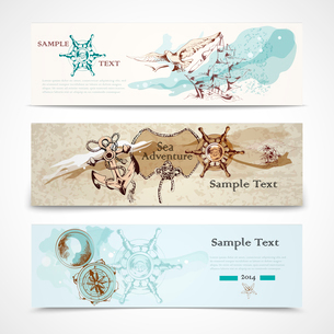 A set of three horizontal ancient nautical design elements informative advertising banners vector ilのイラスト素材 [FYI03091832]